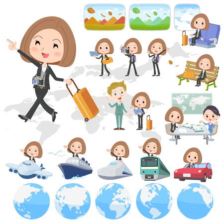 Set of various poses of Black jacket pants business woman travel Illustration