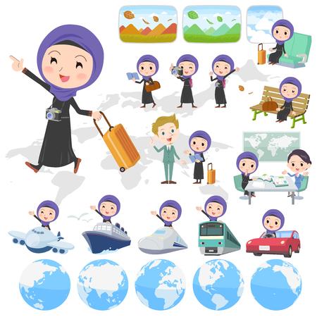 Set of various poses of Arab woman travel