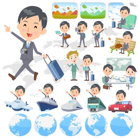 Set von verschiedenen Posen von Gray Suit Businessman Reisen