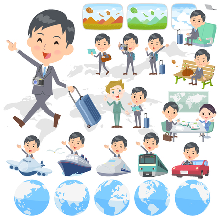 Set of various poses of Gray Suit Businessman travel Illustration
