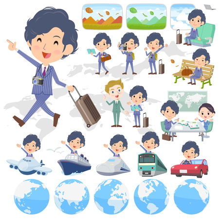 bullet camera: Set of various poses of Stripe suit perm hair man travel Illustration