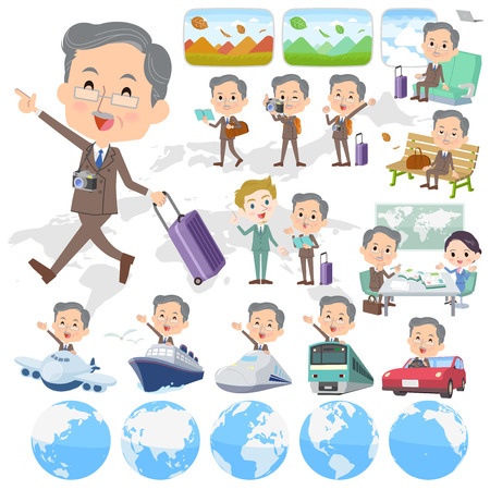 Set of various poses of Double suit beard old man travel