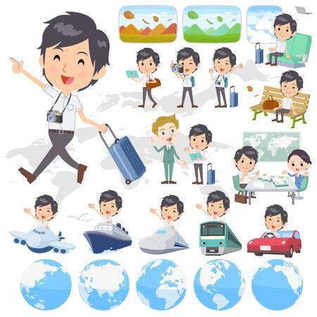 Set of various poses of White short sleeved man travel