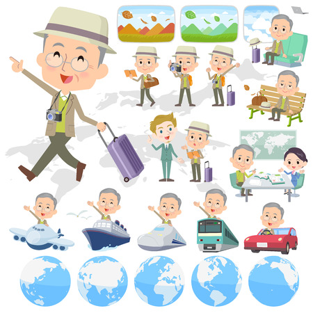 Set of various poses of Green jacket grandfather travel