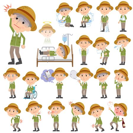 working stiff: Set of various poses of farmer worker old man sickness