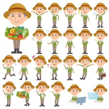 Set of various poses of farmer worker old man