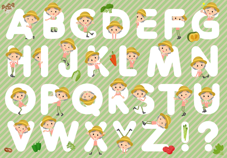 Set of various poses of farmer worker old woman A to Z