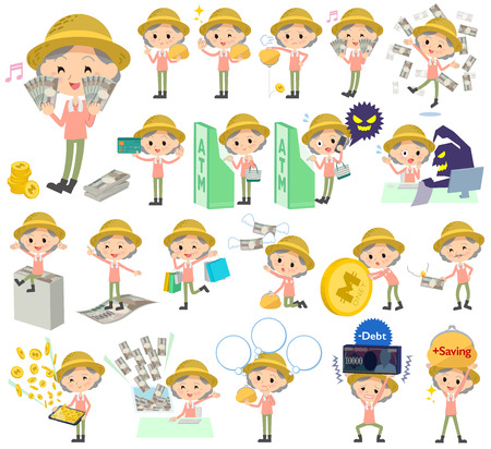 Set of various poses of farmer worker old woman money