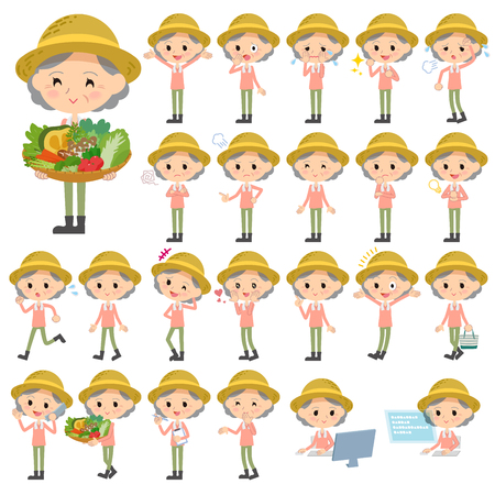Set of various poses of farmer worker old woman
