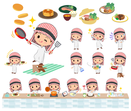 Set of various poses of Arab boy cooking Ilustrace