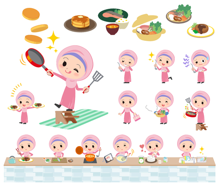 Set of various poses of Arab girl cooking