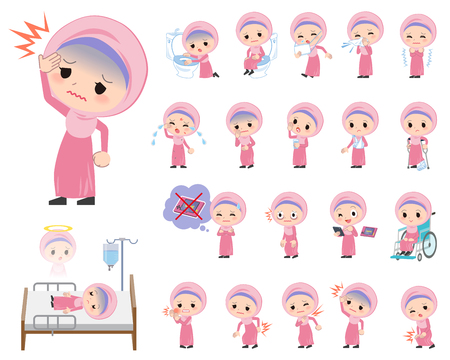 hospitalization: Set of various poses of Arab girl About the sickness