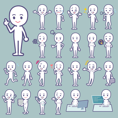 Set of various poses of Stick figure people Stock Illustratie