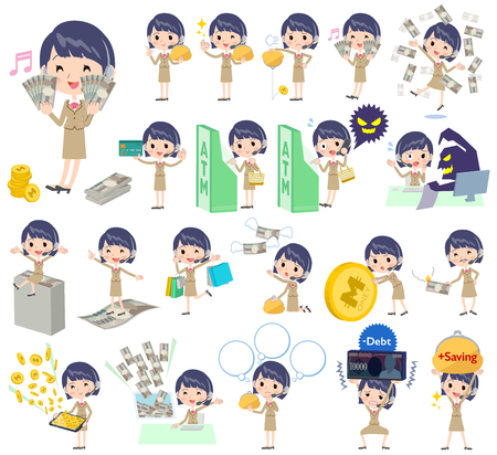 Set of various poses of Call center woman money