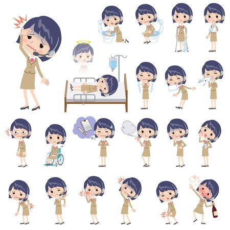 Set of various poses of Call center woman sickness Illustration