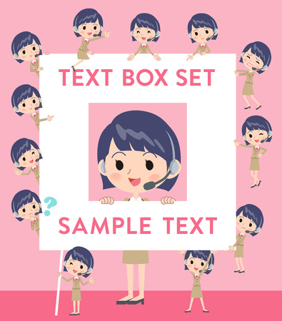 Set of various poses of Call center woman text box