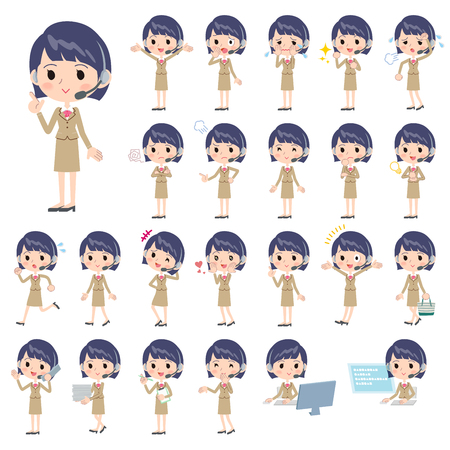 Set of various poses of Call center woman Çizim