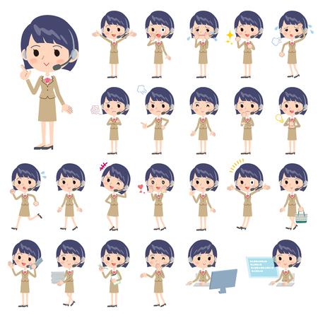 Set van verschillende poses van call center vrouw