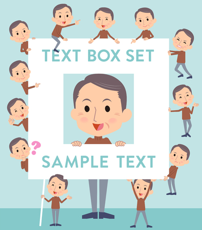 information age: Set of various poses of Brown high neck Middle aged man text box