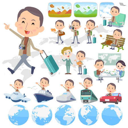 Set of various poses of Brown high neck Middle aged man travel Illustration