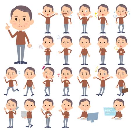 Set van verschillende poses van bruine hoge nek man van middelbare leeftijd