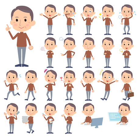Set of various poses of Brown high neck Middle aged man Illustration