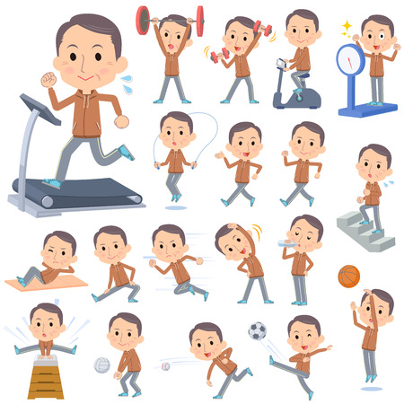 Set of various poses of Brown wear Middle aged man Sports & exercise Illustration