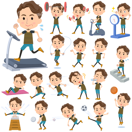 Set of various poses of wild Middle aged man Sports & exercise