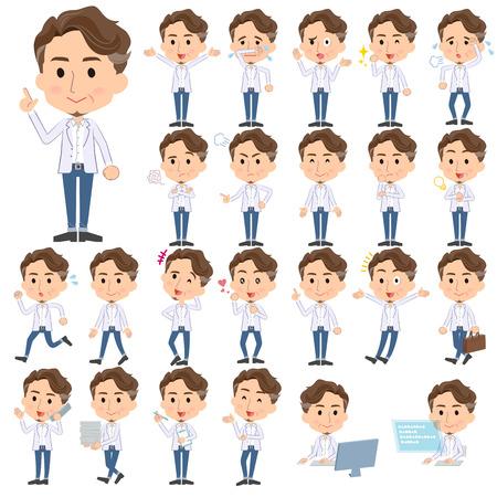 Set van verschillende poses van wilde Midden-jarige man