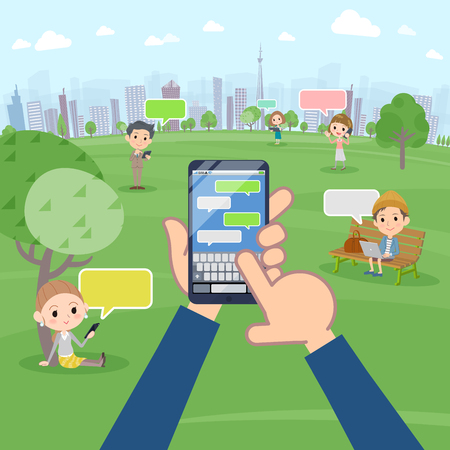 A lot of people enjoying SNS in the park vector image Illustration