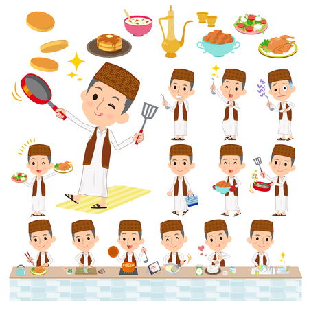 Set of various poses of Arab man Brown vest Style cooking Illustration