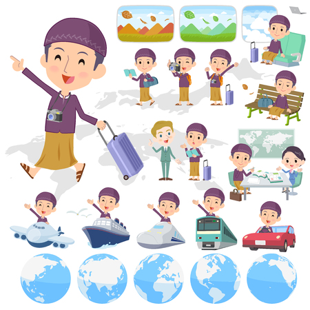 map case: Set of various poses of Arab man purple style travel Illustration