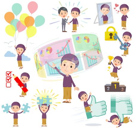 Set of various poses of Arab man purple style success & positive Illustration