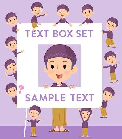 Set of various poses of Arab man purple style text box  イラスト・ベクター素材
