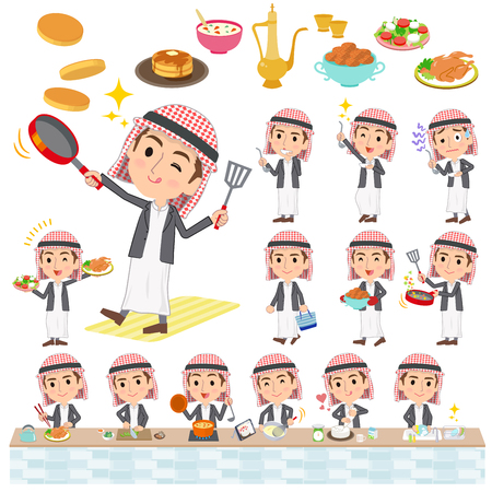 Set of various poses of wild Middle aged man cooking