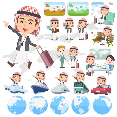 Set of various poses of Arab man jacket Style travel