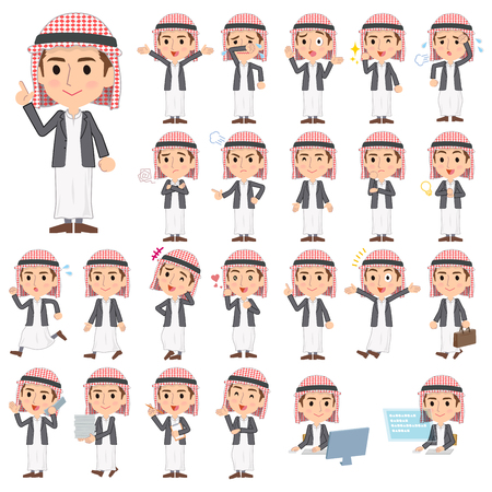 Set of various poses of Arab man jacket Style