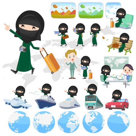 Set of various poses of Arab woman niqab Style travel Illustration