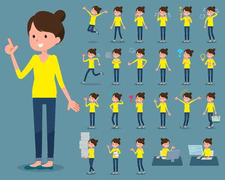 Set of various poses of flat type Bun hair mom Illustration