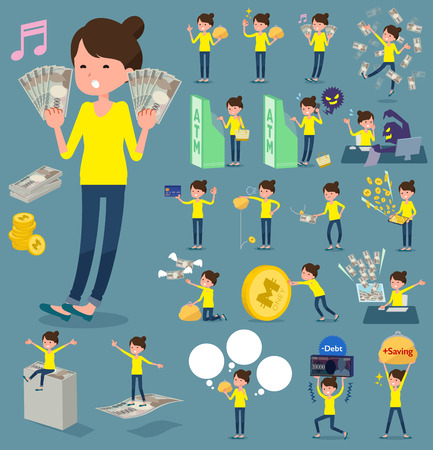Set of various poses of flat type Bun hair mom_money Illustration
