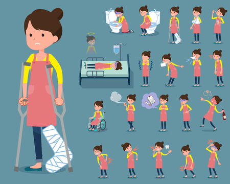 hospitalization: Set of various poses of flat type Ballet Bun hair Apron mom_sickness