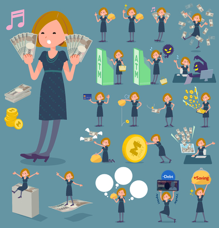 Set of various poses of flat type Bob hair cut woman in black dress with money.