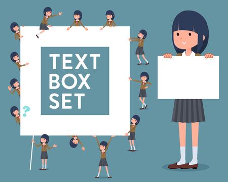Set of various poses of flat type school girl Brown Blazer_text box Illustration