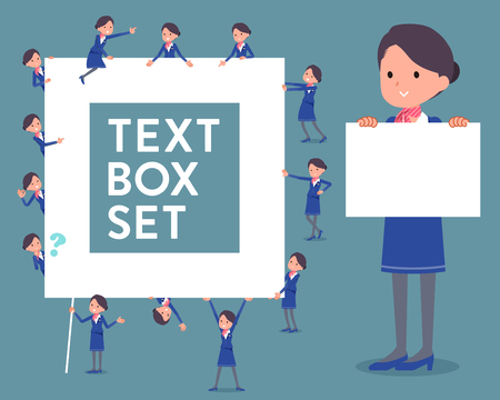 cabin attendant: Set of various poses of flat type Cabin attendant blue woman_text box