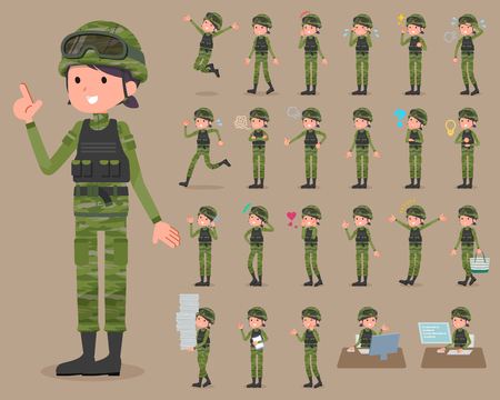 Set of various poses of flat type military wear woman_1