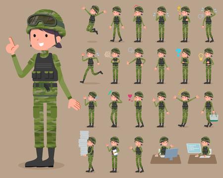 Set of various poses of flat type military wear woman_1 Banco de Imagens - 82438329