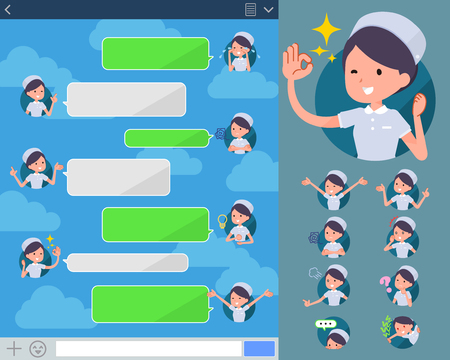sns: Set of various poses of flat type Nurse wear woman_sns Illustration