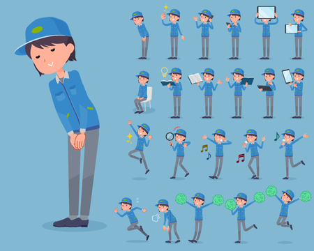 Set of various poses of flat type Delivery woman_2