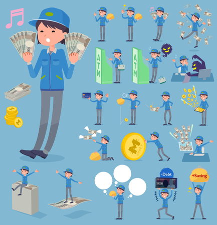 Set of various poses of flat type Delivery woman_money