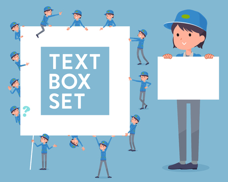 Set of various poses of flat type Delivery woman_text box